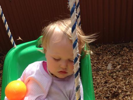 sleeping in the swing