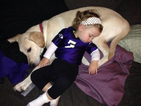 sleeping on dog as pillow