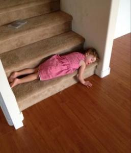 sleeping on stair step
