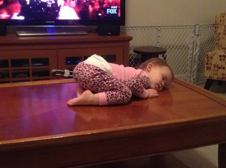 sleeping on the coffee table