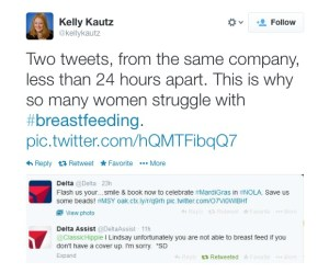 Screen capture by @KellyKautz of two tweets regarding women's breast by Delta social media representatives less than an hour apart.