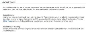 Delta Breastfeeding policy on website copy
