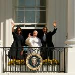Pope Francis, U.S. President Barack Obama and first lady Michelle wave from the south portico of the White House in Washington Sept. 23. (CNS photo/Paul Haring) See POPE-WHITE-HOUSE Sept. 23, 2015.