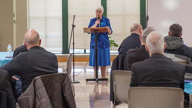 Vicki Thorn, who founded Project Rachel, a ministry that provides healing to those affected by abortion, speaks to priests at Church of the Nativity in Leawood about their role in the ministry.  leaven photo by moira cullings