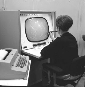vint. computer and woman