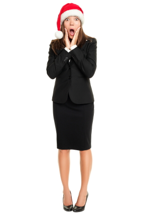 Happy excited Christmas business woman isolated