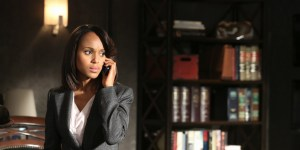 """SCANDAL - """"Guess Who's Coming to Dinner"""" - Through flashbacks we learn more about Olivia's estranged relationship with her father. Meanwhile, both the White House and  Pope & Associates are still in the middle of cleaning up the very big and very public mess they created, on """"Scandal,"""" THURSDAY OCTOBER 10 (10:00-11:00 p.m., ET) on the ABC Television Network. (Photo by Danny Feld/ABC via Getty Images) KERRY WASHINGTON"""