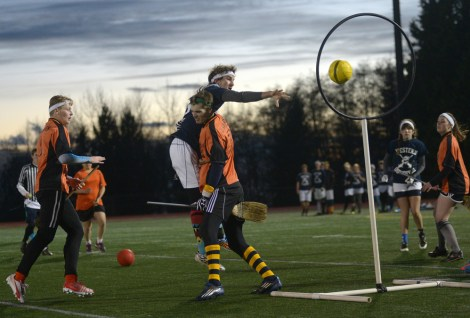 A real life game of Quidditch, a strange sport which is gaining popularity