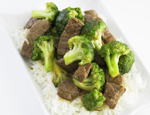 A plate of Broccoli Beef Stew over rice