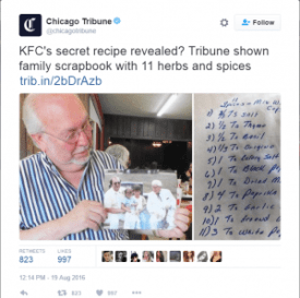 KFC secret recipe revealed by Col. Sanders nephew - The Chicago Tribune / Twitter