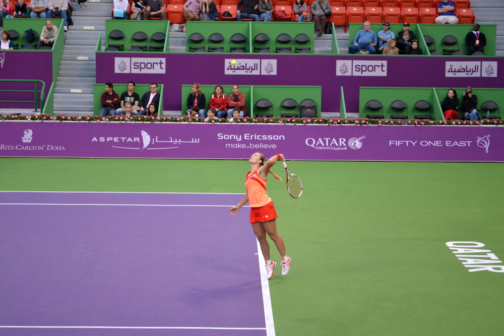 Tennis Player Angelique Kerber at Qatar Total Open on February 14, 2012 in Doha, Qatar.