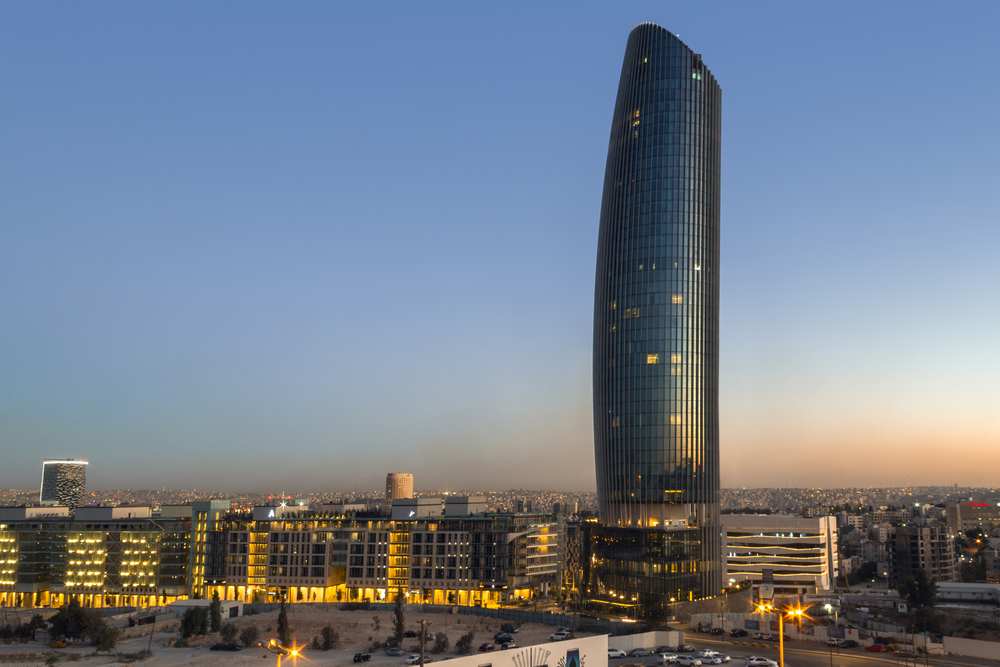 sunset on Rotana Hotel at abdali area Amman, Jordan