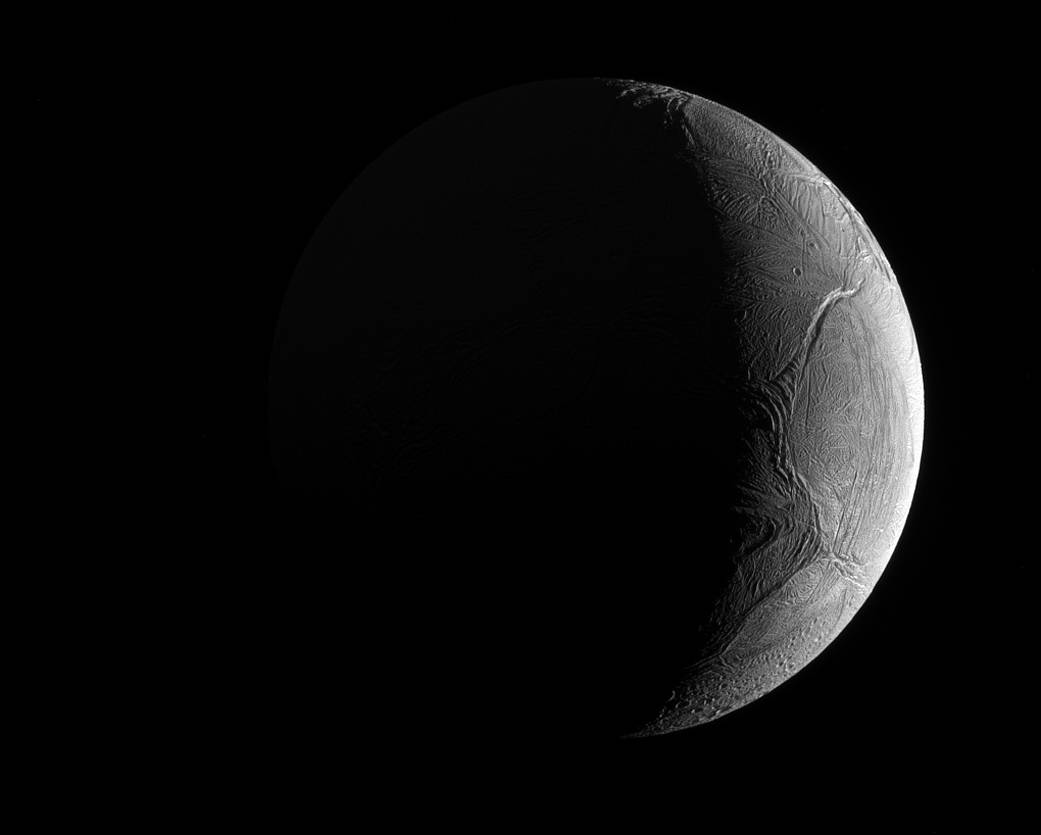 Enceladus captured by the Cassini spacecraft on November 27, 2016 using its narrow-angle camera - NASA