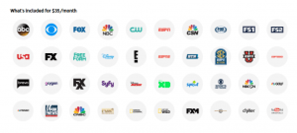 Channels included in a regular YouTube TV subscription