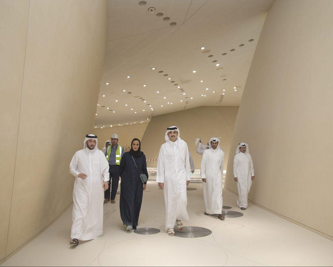 The Emir of Qatar, Sheikh Tamim bin Hamad Al Thani, visiting the under-construction Qatar National Museum in June. - Doha News