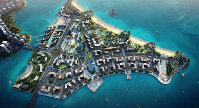 Render of the triangular Qetaifan Island North connected to Lusail City by bridge - Katara Hospitality