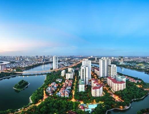 Aerial skyline view of Hanoi cityscape, Vietnam