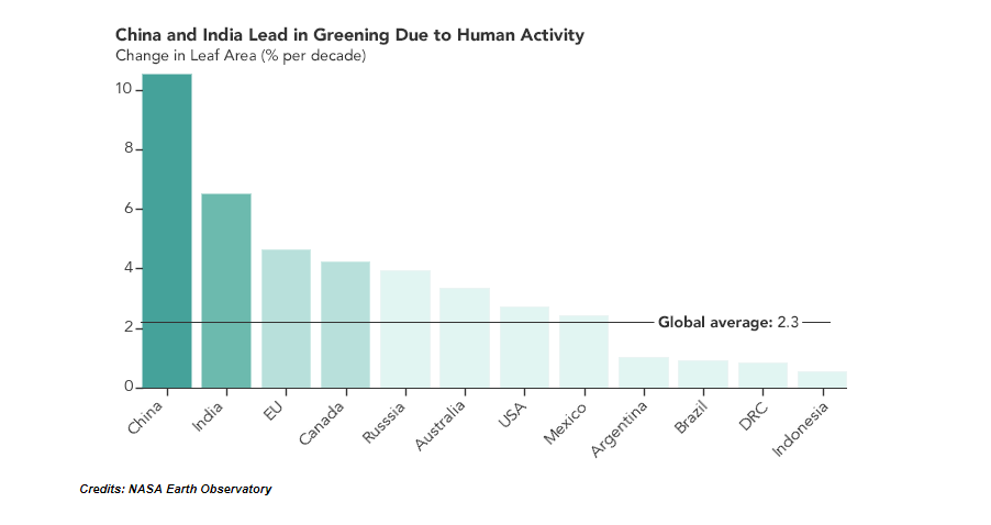 China and India lead in greening the planet