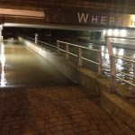 An underpass filled with water, making it inaccessible to pedestrians. Photo: David Wriglesworth