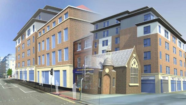 Mock views of the new student flats complex, flush with the RSPCA shop.