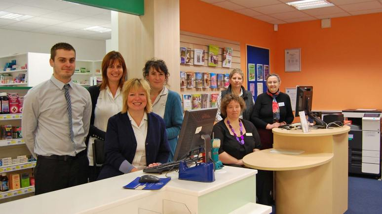 The Waddington Pharmacy team (L): Pharmacist Chris Donnan, Karen Barker and Rachel Aloi and Rachel Hart, along with members of the county council's Library Services team (R) Cathy Rushton and Jill Trowsdale and volunteer Alison Peden.