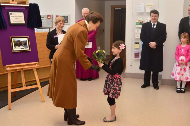 The princess was presented with a posy from Hannah Hicks (7). Photo: Steve Smailes for The Lincolnite