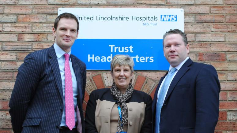 Health Minister Dr Dan Poulter with Linda Higginbottom, Deputy Director for Patient Services at ULHT, and Lincoln MP Karl McCartney
