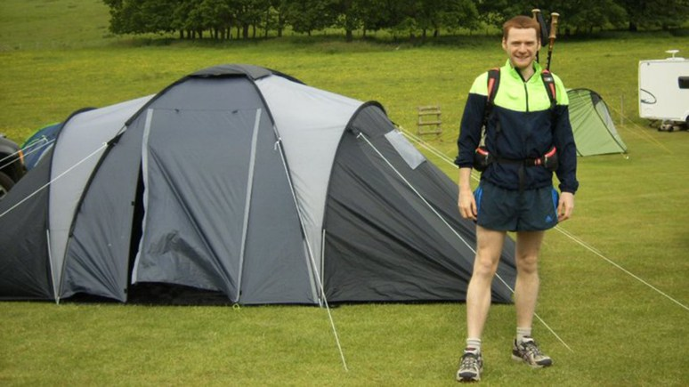 David before a running event in Shropshire. Sometimes he has to carry a specific kit for ultra marathons.