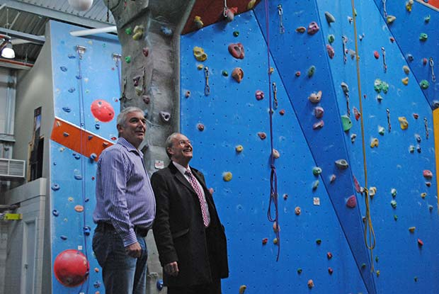 Malcolm Barham showed PCC Alan Hardwick the facilities at The Showroom, including the climbing wall centre.