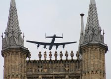 The RAF BBMF Lancaster flying over Lincoln Cathedral in May 2013 for the 70th anniversary of the Dambusters. Photo: Sue Chafer