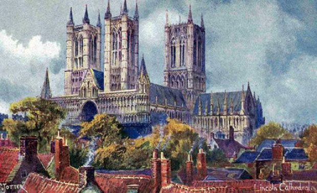 A 1906 painting for postcard of Lincoln Cathedral.