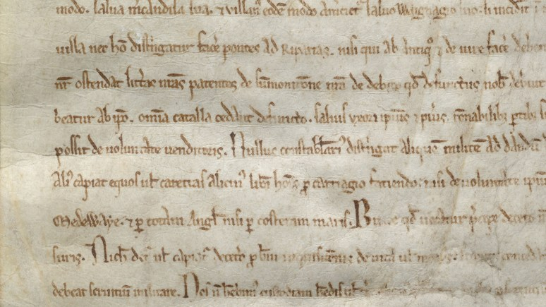 A close up of Lincoln's copy of the Magna Carta.