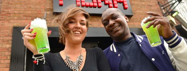 Sophie Hough, the club's Sales & Events Manager and General Manager Paul Oloo toast ahead of the reopening of Moka and Shack. Photo: Steve Smailes for The Lincolnite