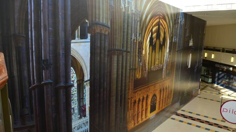 The 20m x 8m image of Lincoln Cathedral's interior at the Waterside Shopping Centre. Photo: Steve Smailes for The Lincolnite