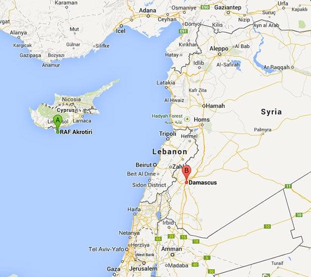 RAF Akrotiri in Cyprus and Damascus in Syria. Map: Google