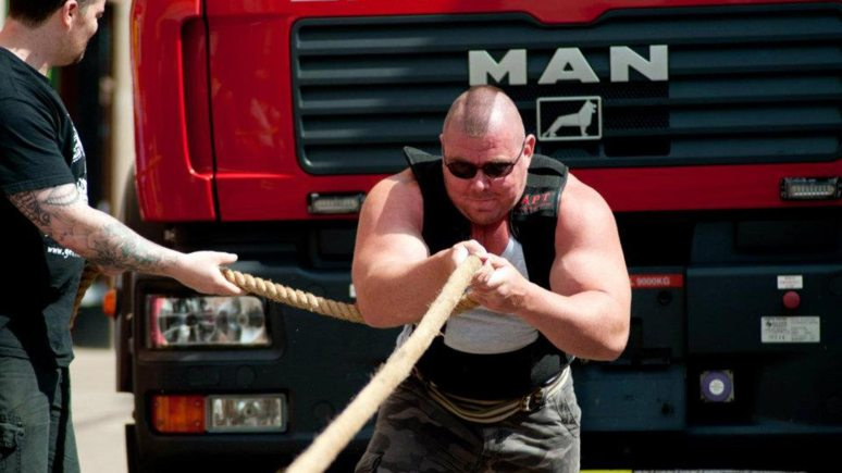Strongman David Johnson also pulled fire trucks in St Mark's in Lincoln in 2011 and 2012.