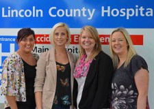 Some of the Lincoln A&E nurses taking part in the charity calendar. From left to right: Stacey Lawson (26), Laura Buntin (26), Stacey Johnson (33) and Sharon Johnson (44). Photo: Emily Norton