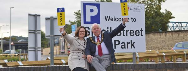 Ursula Lidbetter, Chief Executive of Lincolnshire Co-operative and Patrick Vaughan, the Mayor of Lincoln, at the new Sincil Street car park, next to the train station.