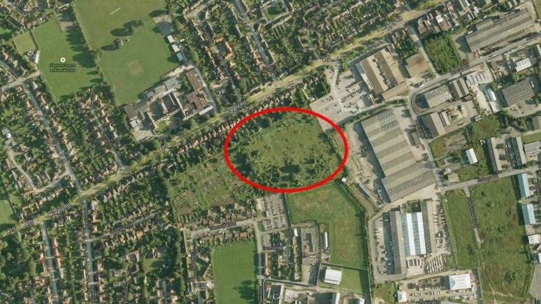 Darwin's Field off Wragby Road, between Tesco supermarket and allotments. Map data: Google