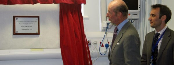 HRH The Duke of Kent unveiling the plaque next to Clinical Lead for the Lincolnshire Heart Centre Dr David O'Brien. Photo: ULHT
