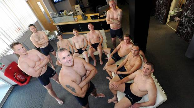 Calendar boys (L-R): Mark Bradshaw, Chris Hubbard, Mark Poplett, David Holmes, Andrew Manderfield, Jason Robinson, Alex Thompson, Daniel Rippon, Ben Halstead and Paul Tutin. Also to appear, but not in this picture James Pinchbeck and Ben Robinson.