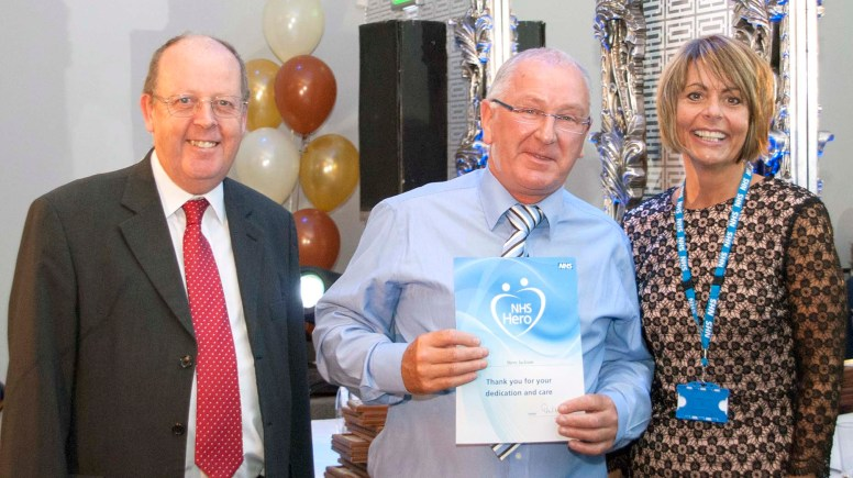 NHS Hero Steve Jackson pictured with LCHS Cheif Executive Ellen Armistead and Trust Chairman Dr Don White.