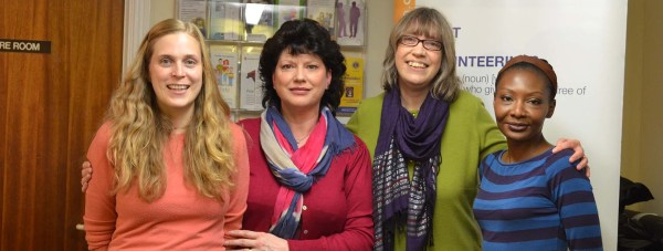 The Lincoln Voluntary Centre Services team. (From left to right) Project Officer Helen Selton, Volunteer Advisor Angela Taylor, Centre Manager Dianne Slapp and Project Officer Bola Aboiye.