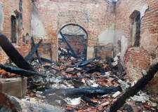 The burnt down St George's Church in Goltho. Photo: Pauline Loven (@periodwardrobe)
