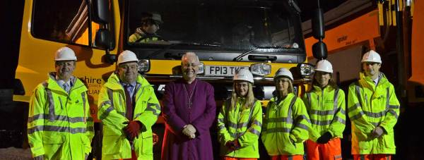 The Bishop of Lincoln with the Lincolnshire Highways team at the Sturton by Stow depot.