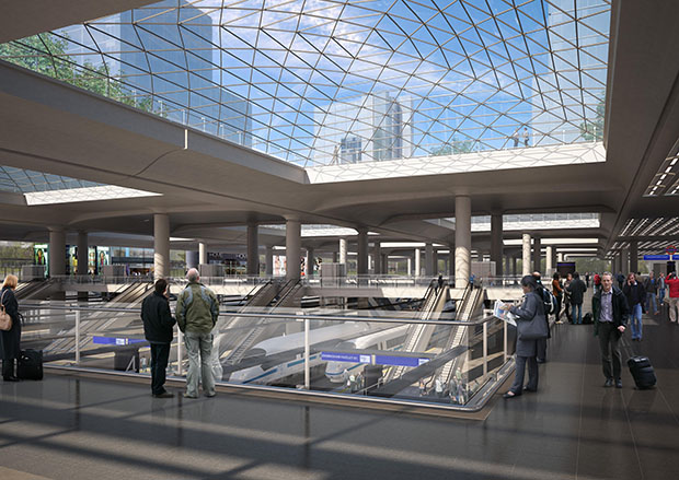 The revamped Euston Station in London, the destination of the trains from Birmingham. Photo: HS2