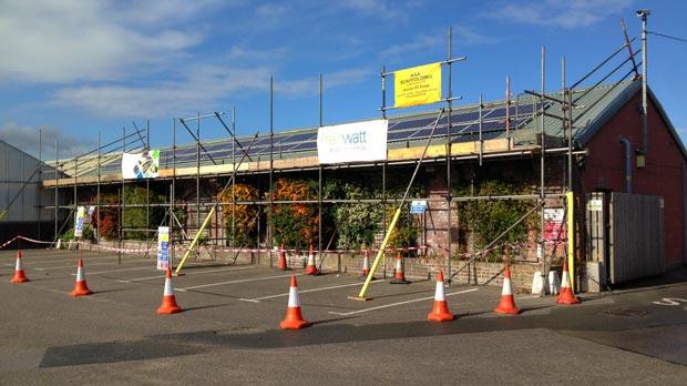 Renewable technology installation underway at Lincoln's Pennells garden centre.