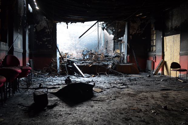 Three month after the fire at Croft Street Community Centre and further break-ins and weather conditions  worsened the state of the hall. Photo: Emily Norton