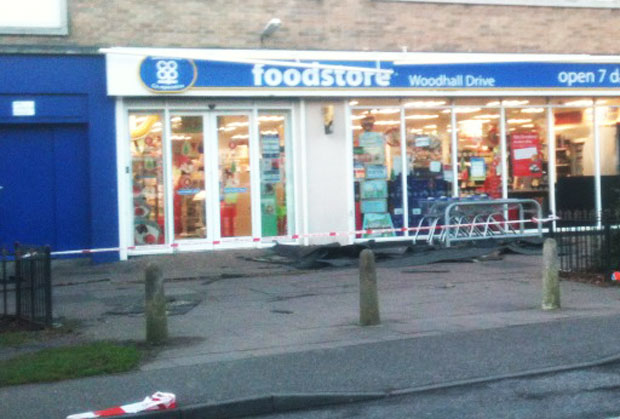 Wind damage to the Co-op store on Woodhall Drive. Photo: Hazel Johnson