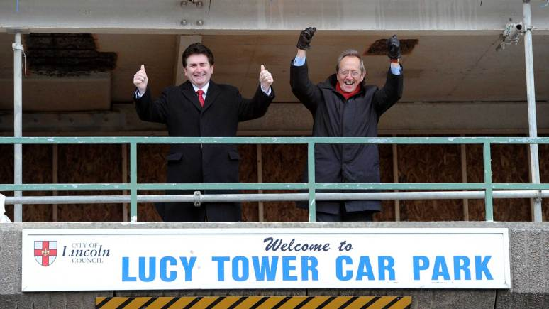 City Council Chief Executive Andrew Taylor and Leader Ric Metcalfe at Lucy Tower car park. Photo: Stuart Wilde
